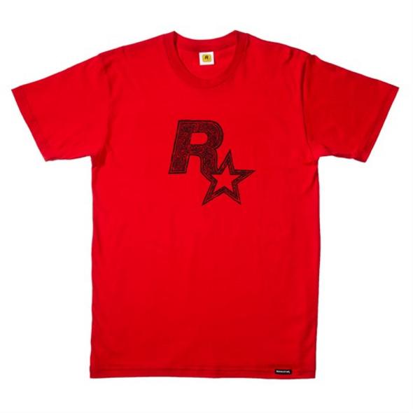 Rockstar - T-Shirt Logo rot (Größe L)