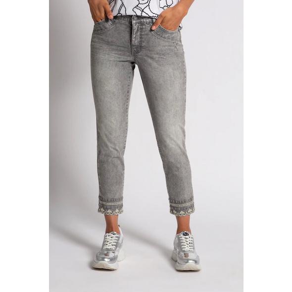 Gina Laura 7/8-Jeans Julia, Saumstickerei, schmale Passform