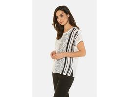 Gina Laura T-Shirt, vorne gemustert, Rücken uni
