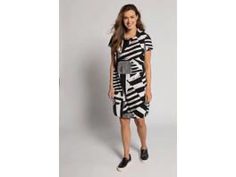 Kleid, Leinenmix, Streifenmuster, O-Form, Halbarm mit Schlitz